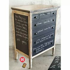 Chalkboard paint chest of drawers