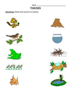 free printable animal habitat worksheet (5) | Eşleştirme | Pinterest ...