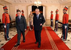 The Prince of Wales and  President Juan Manuel Santo.The royal couple's last engagement o...