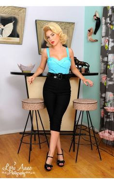 Vamp Top in Baby Blue from Deadly Dames | Pinup Girl Clothing