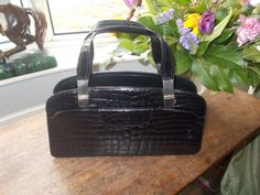 "huge alligator 60's handbag over 16"" in length"