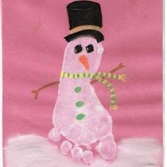 Footprint Snowman Craft.  Would be cute on a platter to give grandparents for Christmas. :)  SO CUTE!