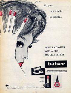 Rouge Baiser (Cosmetics) 1960 Pierre Couronne, Nail Polish, Lipstick