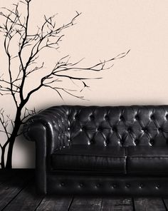 Nature Vinyl Wall Art Bare Tree Branch Wall Decal Sticker - Black, x Easy to Apply & Removable. Includes FREE Application Squeegee by Stickerbrand Wall Stickers Murals, Vinyl Wall Decals, Wall Murals, Wall Décor, Tree Decals, Bare Tree, Textured Walls, Decoration, Just In Case
