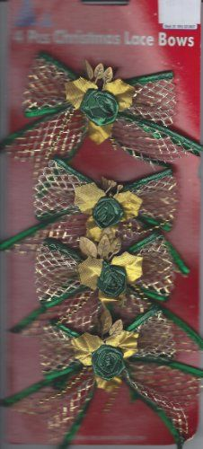 4 BEAUTIFULLY DECORATED CHRISTMAS BOWS TO ACCENT YOUR WRAPPED GIFT OR ADD TO A DECORATION OR EVEN PUT IN YOUR HAIR. Christmas Tree Bows, Xmas Ornaments, Xmas Tree, Gift Wrapping Bows, Lace Bows, Cute Crafts, Xmas Decorations, Valentines, Lowes Coupon