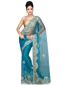 Light Blue Net Saree