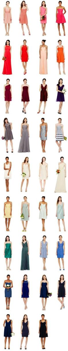 A rainbow of #bridesmaid dresses! #wedding #dress #color by terra