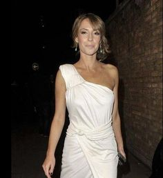 Looking stunning in the white hot one shoulder jersey gown, Alex Jones was papped last night..2012 x