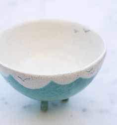sweet little bowl, with birds and clouds. handmade by @Ine Castellano <3