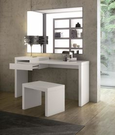 Furniture. Wonderful Bedroom Dressing Table Inspirations. Contemporary White Dressing Table below Rectangle Frameless Wall Mirror of Concrete Interior Wall