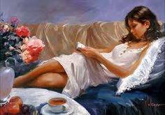 """Tableau de Wladimir Volegov  """"Un peu de stimulant dans une tasse, un bon roman, vous voilà prêts à partager votre lecture!"""" 24/05/2013"""