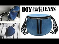 Trendy Ideas For Sewing Jeans Bag Belts Diy Jeans, Recycle Jeans, Jean Diy, Waist Purse, Denim Tote Bags, Denim Purse, Diy Vetement, Hip Bag, Pouch Bag