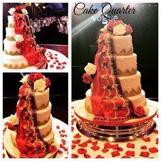 Indian wedding cake. With draped iced red scarf    Designed by Cake Quarter  Wedding cakes • Birthday Cakes.  www.cakequarter.co.uk 01215071645