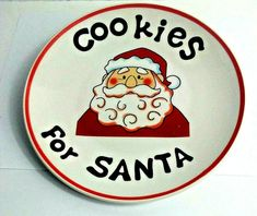 Cookies For SANTA Ceramic Painted Plate Safe for Foods Dishwasher Microwave Cooking Supplies, My Ebay, Microwave, Dishwasher, Santa, Plates, Ceramics, Foods, Cookies