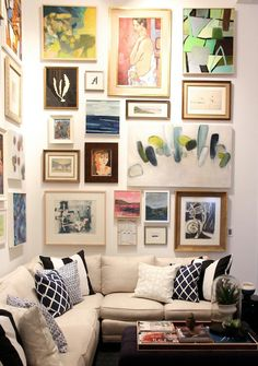 A colourful and eclectic gallery wall in the living room. Beige sofa and monochrome patterned cushions complete the look Inspiration Wand, Home Decor Inspiration, Living Room Sofa, Living Room Decor, Picture Wall Living Room, Picture Walls, Dining Rooms, Eclectic Gallery Wall, Home And Deco