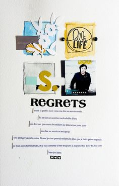 "Scrapbook inspiration ""Regrets"" about the regrets we have in life. Real life scrapbooking."