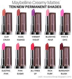 Ten NEW Permanent Shades Added to Maybelline Colorsensational Creamy Matte Lipstick Range