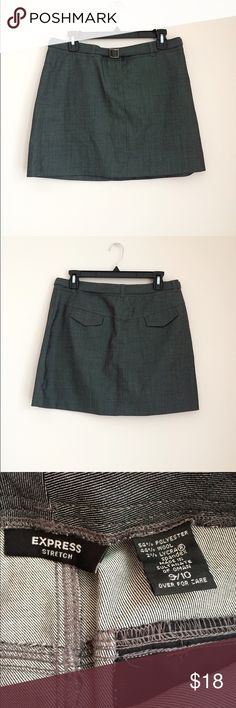 """Express Belted Skirt Charcoal grey belted skirt. Size 9/10. Waist measures just shy of 32"""". Length measures approximately 16"""". Hook and zipper closure. Back pockets. 54% polyester, 44% wool, 2% spandex. Excellent condition, like new 🌸 Express Skirts"""