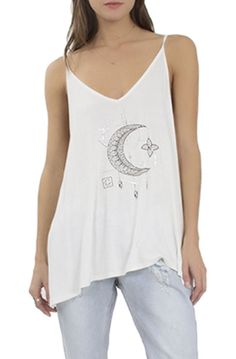 The Crescent Moon Rayon Tank in Ivory