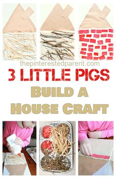 Three Little Pigs kid's Craft & activity - Build a straw, stick & brick house. Kid's book inspired arts and crafts 3 Little Pigs Activities, Fairy Tale Activities, Craft Activities For Kids, Crafts For Kids, Science Activities, Science Projects, Eyfs Activities, Science Fun, Preschool Science