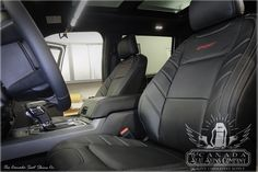 This is our 2015 - 2019 Sport leather interior design in black with original grey stitching and red sport logos on both front seat backs. Ford F150 Custom, Ford F150 Xlt, Ford F150 Accessories, Ford F150 Lariat, Custom Seat Covers, Black Carpet, Sports Models, Grey Trim, Autos
