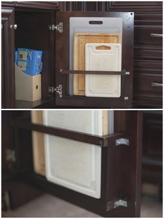 Awesome Kitchen Cabinet Door Storage Ideas That Will Organize Your Kitchen DIY Cutting Board Storage by Diy Kitchen Storage, Kitchen Cabinet Organization, Kitchen Cabinet Doors, Organization Hacks, Kitchen Cabinets, Organizing Ideas, Diy Cabinets, Inside Cabinets, Kitchen Wood