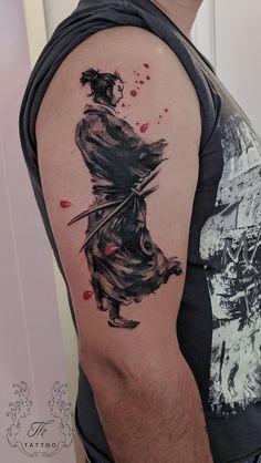 Samurai tattoo, brush tattoo,