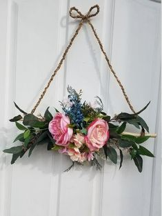 Mini Wreath for Front Door Floral Wreath Triangle Wreath Rustic Door Decor All Season Wreath Spring Wreath Mini wreath for front door ! This is a rare style triangle wreath made on natural wood stick with jute rope.Decorated with faux eucalypt Deco Floral, Arte Floral, Front Door Decor, Wreaths For Front Door, Front Doors, Modern Wreath, Rustic Doors, Rustic Wall Decor, Rustic Walls