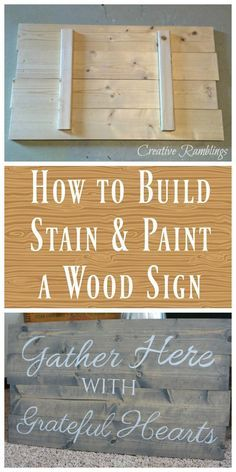 How to build stain and PAINT a wood sign. CONTACT PAPER STENCIL.
