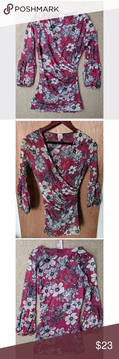 Sweet Pea Vintage Floral Wrap Front Top sz M Sweet Pea by Stacy Frati. Burgundy/red with white flowers, outlined in black. Puff/lantern style long sleeves, faux wrap front, dual layered nylon for opacity in the body front and back. Lightweight for warmer weather, dresses up or down easily. Color most accurate in close up photos. Bought at Anthropologie. Worn once, if at all, like new condition. Anthropologie Tops Blouses