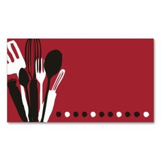 kitchen utensils chef catering business card red