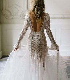 Make a show stopping exit, with this lace detailed deep V cut #weddingdress by @inbaldrorofficial Tag a #bridetobe this beauty! #regramlove @weddedwonderland #gettingmarried #inbaldror http://ift.tt/2cipDrk