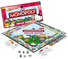 Hello Kitty Games, Chat Hello Kitty, Kitty Kitty, Gag Gifts, Cute Gifts, Hello Kitty Party Supplies, Monopoly Game, Monopoly Board, Pochacco