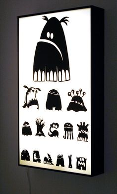 Eye test equipment - with Monsters instead of letters... so cute!