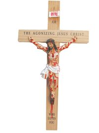 Agonizing Crucifix on Red Oak