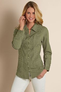 Santa Fe Shirt - Womens Crinkled Shirt, Womens Gauze Shirt | Soft Surroundings