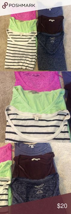 T-Shirt Bundle! Six assorted t-shirts!  4 short sleeved, and 2 three-quarter length sleeves. 4 of them are from American Eagle and 2 are from the Gap. Range from XS to S. All great condition! Bundle and save 25%! American Eagle Outfitters Tops Tees - Short Sleeve