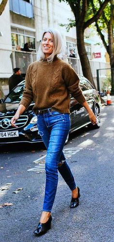 Sarah Harris in a Margaret Howell sweater, Paige jeans and Céline shoes
