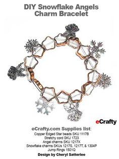 DIY Angels & Snowflakes Stretch Charm Bracelet from eCrafty.com Cheryl used our stretchy cord SKU 1723  Our pretty Copper Edged Star beads SKU 1117B.  Angel charms SKU 1217X and Snowflake charms SKUs 1217S, 1217T, and 1304P.  Finished with our jump rings SKU 1501Q. #angels #christmas #snowflake #diy #crafts #beads #charms #beads www.ecrafty.com