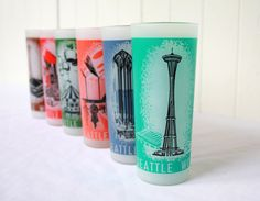 Vintage Glasses Seattle World's Fair 1962 Set of 6 Multicolored Mid Century