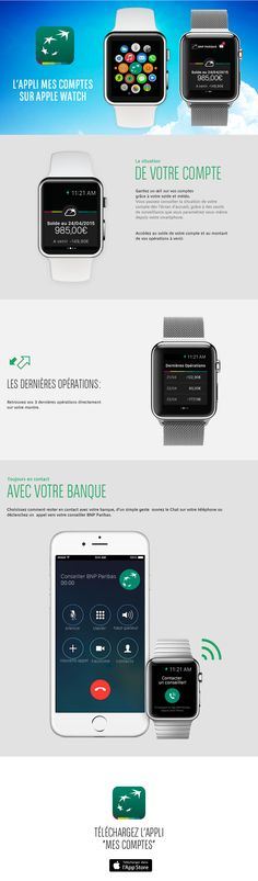 """L'appli """"Mes comptes"""" BNP Paribas sur Apple Watch :: A télécharger sur iTunes : https://itunes.apple.com/fr/app/mes-comptes-bnp-paribas/id377884617?mt=8 :: #AppleWatch"""