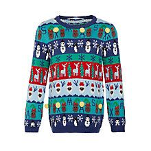 Buy John Lewis Boy Christmas Characters Jumper, Blue/Multi Online at johnlewis.com
