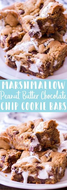 These Marshmallow Peanut Butter Chocolate Chip Cookie Bars are rich, gooey, and completely over-the-top. These peanut butter chocolate chip cookie bars are filled with Reeses peanut butter cups, chocolate chips, and marshmallow fluff Cake Bars, Dessert Bars, Marshmallow Brownies, Marshmallow Fluff Recipes, Crack Brownies, Reeses Peanut Butter, Peanut Butter Recipes, Marshmallow Peanut Butter, Baking Recipes