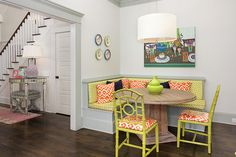 10 Ways to Bring Palm Beach Fun to Your Pad -  bright & cozy breakfast nook.  Transitional Kitchen by Colordrunk Designs