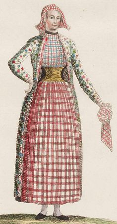 """Ongehuwde vrouw uit Hindeloopen"" (Unmarried woman of HIndeloopen.) Plate II of ""Letters over the united Netherlands"" by J. Grabner, a lieutenant in the service of the republic. Folk Fashion, Fashion Fabric, Fashion Art, Fashion Outfits, 18th Century Dress, 18th Century Costume, Folk Costume, Costumes, Fashion Plates"