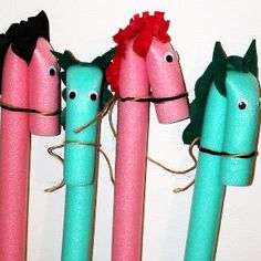 Life-Size Pool Noodle Ponies, why not act out a story while riding these beauties? (A child who knows these props await will be well-motivated to write a horse-themed story!  Positive use of all that beautiful energy!