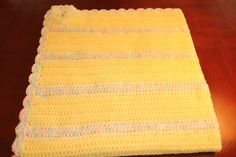 """Baby Blanket - Yellow Variegated 37"""" 37"""" $40 +shipping"""