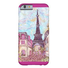 http://zazzle.com/fabricatedframes/cases?rf=238001022235983905 @zazzle #iphone #case with #Paris #EiffelTower #inspired #pointillism #artwork by #artist #KristieHubler #orchid border