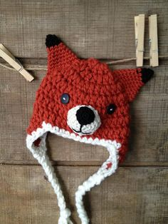 LittleFox Crochet Hat, Earflaps, Button Eyes, Baby, Toddler, Child, Teen, Adult Hat via Etsy