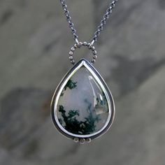 Teardrop Moss Agate Pendant in Sterling Silver, One of Kind Necklace, Underwater Ocean Scene, Sterling Silver Chain